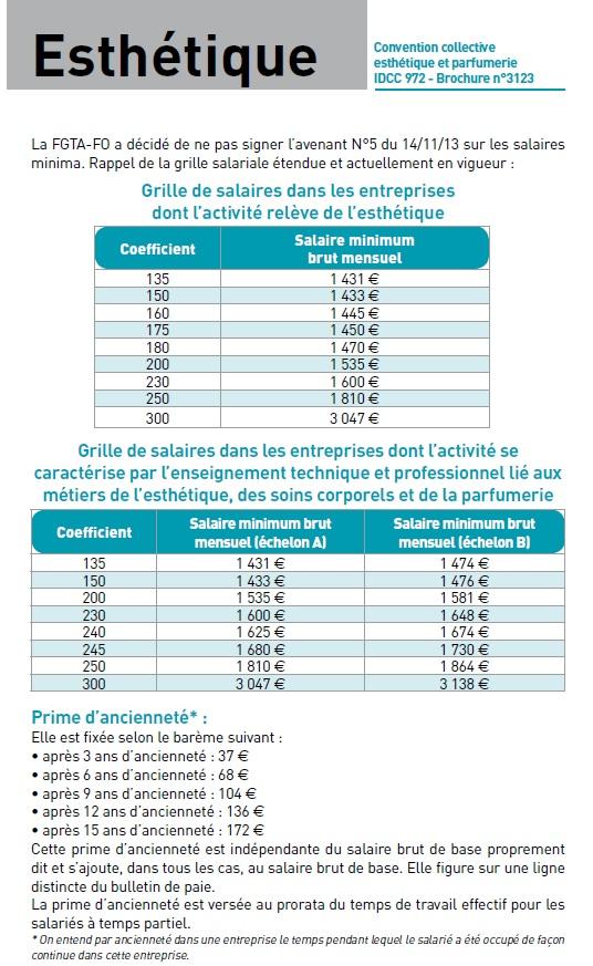 Grille des salaires dans l 39 esth tique union - Grille de salaire controleur de gestion ...